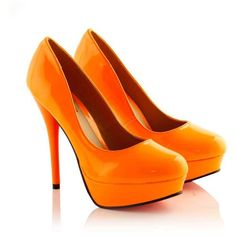 Ashly Green Neon Platform Court Shoe in Orange ($14) ❤ liked on Polyvore featuring shoes, pumps, heels, sapatos, orange, high heels, platform shoes, orange pumps, neon green pumps and high heel shoes