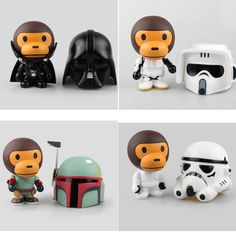 New Arrival Bape x Star wars Baby Milo Ape Aape Darth Vader & STORM TROOPER,Bobba Fett  With Original Box #Affiliate