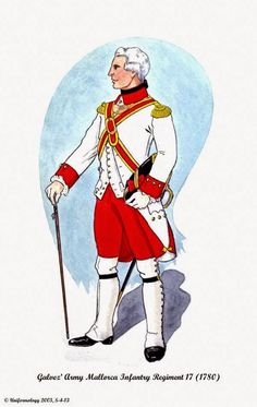 Galvez' Army Officer of Infantry Regient Mallorca 1780 American War, Early American, Barbary Wars, Battle Dress, Seven Years' War, Toy Soldiers, American Revolution, Military History, Molon Labe