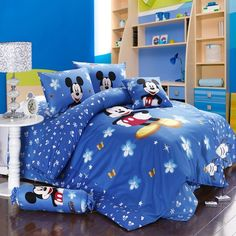 Cheap bed linen, Buy Quality girls bed linen directly from China bedding set blue Suppliers: twin full queen king duvet covers cotton bedding set blue mickey mouse flower printed boys children's girls bed linens Full Size Comforter Sets, Queen Size Bed Sets, Blue Bedding Sets, King Size Duvet Covers, Cheap Bedding Sets, Cotton Bedding Sets, Queen Bedding Sets, Minnie Mouse Bedding, Disney Bedding
