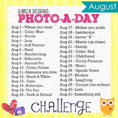 August Photo-a-Day Challenge (Barca Designs) where you work Photography Challenge, Camera Photography, Photography Projects, Photography Photos, Amazing Photography, Mobile Photography, Photography Tutorials, Photography Business, Beauty Photography