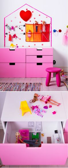 Kids can create a doll's dream apartment with IKEA products and furnish it with stylish HUSET doll furniture.