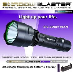 Shadow Blaster UltraFire Beamer Tactical Zoom Flashlight + Battery & Charger #ShadowBlasterUltraFire