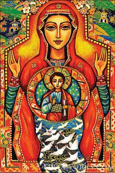 giclee: Our Lady of the Sign, Mother Son art, Mother Child art, Mary Jesus Child, Christian art, Poster Woman Wall Decor, 8x12+