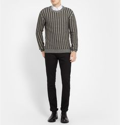 McQ Alexander McQueen - Grid-Knit Wool and Cashmere-Blend Sweater | MR PORTER