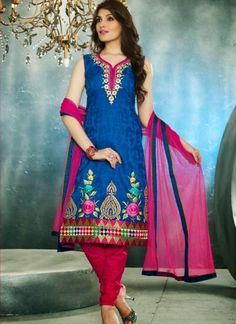 This Blue Cotton,Jacquard Ready Made Salwar Kameez Is Including The Charming Glamorous Showing The Feel Of Cute And Graceful. You'll Be Able To See Some Fascinating Patterns  Completed With Floral Patch,Resham Work.