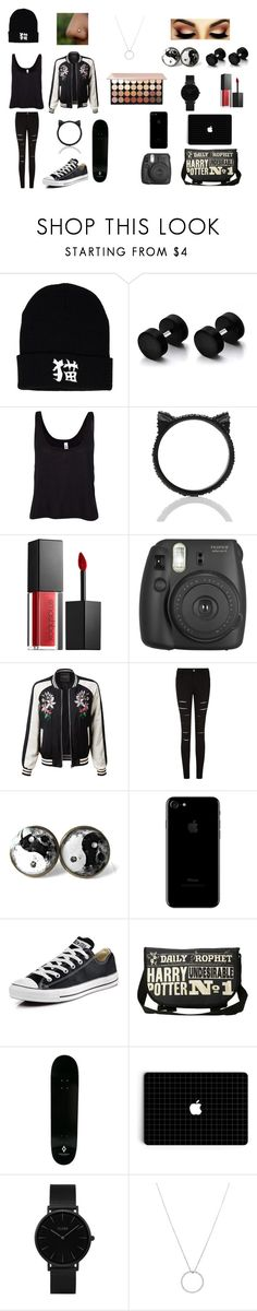 """""""beauty in black"""" by juliab3638 on Polyvore featuring B. Ella, Kate Spade, Smashbox, Fujifilm, LE3NO, Converse, Hot Topic, County Of Milan, CLUSE and Roberto Coin"""