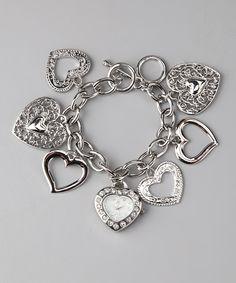 Silver Heart Charm Bracelet Watch
