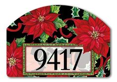 "Christmas Flora Address Sign by MagnetWorks. $15.99. Vinyl coated for long lasting beauty.. Or display as hanging address sign using our Ornamental Address Post.. Address plaques snap into place onto our Yard Stake.. Includes 2 sets of easy-to-apply self-adhesive address numbers.. Magnetic address sign measures 14"" x 10"".. CHRISTMAS FLORA From Magnet Works Yard DeSigns®Use this interchangeable 14 in. x 10 in. screen-printed magnet with our Metal Yard DeSigns Ornamental Post o..."