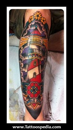 old school half sleeve tattoo | Lighthouse%20Old%20School%20Tattoos%201 Lighthouse Old School Tattoos