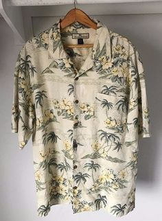 Tommy Bahama Camp Shirt White/Green With Floral/Island Print. 100% Silk in excellent used condition, no rips, tears, or stains. SIZE: Large. | eBay!