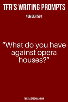 """What do you have against opera houses?"" 