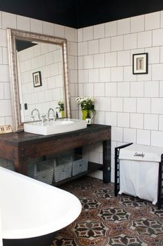 Sometimes all it takes is a bold patterned tile to complete the look of a bathroom!