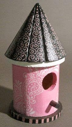 """Hand-Painted Pink Paisley Birdhouse, by Mary McConnell at """"Color Can't Hurt You"""" Etsy shop $10. Can be used indoors as a decorative piece of whimsy, or outdoors, keeping in mind it will weather. Color, pattern and texture make life more interesting. Don't live life beige!  ~  bird house shabby chic round circular"""