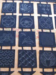 Avent 2013 #2: Le panneau sashiko de Christiane | Au fil d'Emma - Idées patchwork et couture facile