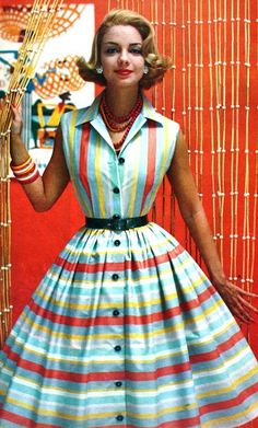 1950s fashion. So interesting that the stripes  are vertical on the bodice and horizontal on the skirt. #1950sclothing #1950sfashion #1950sdress