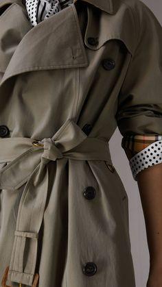 Tropical Gabardine Asymmetric Trench Coat in Chalk Green - Women | Burberry United States