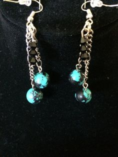 turquoise and black balls with chain and black by ScottishDryad, $5.00