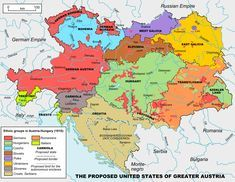 Proposed map of the United States of Greater Austria (1906) and the major ethnic groups of Austria-Hungary