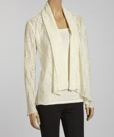 Take a look at this Natural Lace Open Cardigan on zulily today!