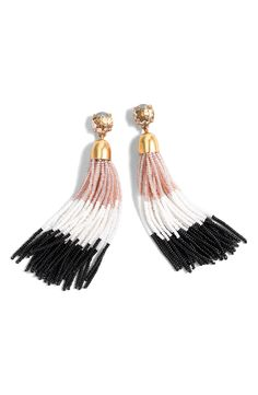 Colorblock Bead Tassel Earrings