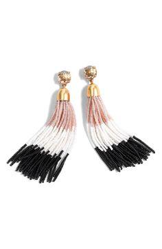 Colorblock Bead Tassel Earrings