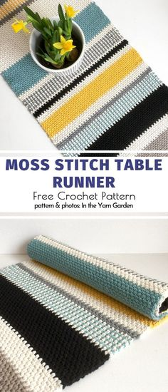 Crochet For The Table Free Patterns Moss Stitch Table Runner Free Pattern Moss stitch is one of the easiest stitches, yet you can play with it to create incredible patterns. This table runner is all about colorful stripes and interchanging yarn. Crochet Home Decor, Crochet Crafts, Free Crochet, Crochet Stitches Free, Crochet Birds, Crochet Food, Crochet Animals, Easy Crochet, Crochet Table Runner Pattern