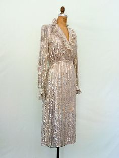 1970s Silver Sequin Disco Dress Vintage 70s Glam Ruffle Dress