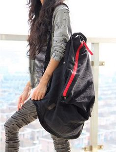 Fashion Bulky Contrast Zip Trim Backpack For Women Cheap Backpacks, New Fashion, Fashion Tips, Cheap Bags, Black Handbags, Drawstring Backpack, Gym Bag, Zip Ups, Contrast