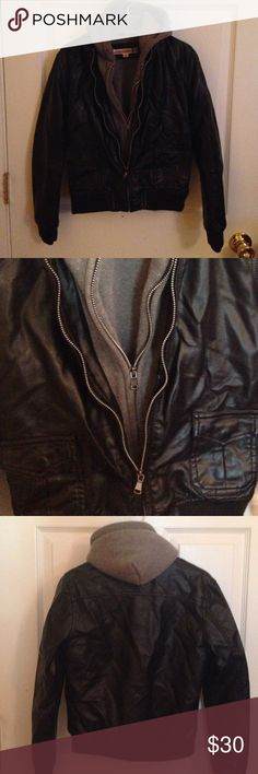 Vintage Havanna Girls Jacket Leather Jacket w sweat shirt and hoodie built in! AWESOME condition! Worn once. Vintage Havana Jackets & Coats