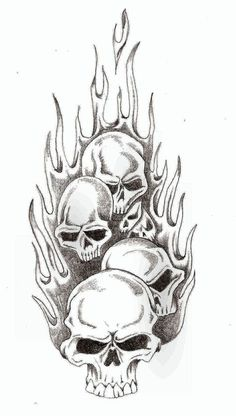 Skull Flames by TheLob on DeviantArt Tattoo Design Drawings, Skull Tattoo Design, Skull Design, Tattoo Sketches, Evil Skull Tattoo, Skull Tattoos, Body Art Tattoos, Sleeve Tattoos, Skull Stencil