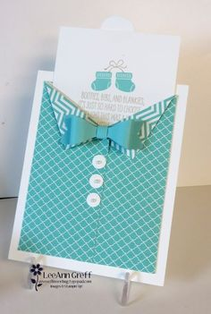 Bow tie card using the Mini Treat Bag thinlits die. So easy!