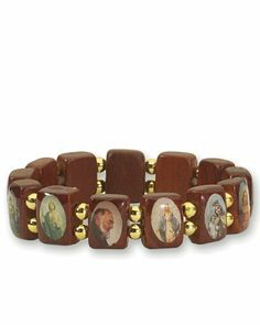 Saints Wood Bracelet with Gold Color Beads - Small Squares - Made in Brazil Religious Gallery. $2.99. Wood Bracelet. Handmade. Assorted images of saints. Made in Brazil