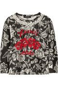 Floral silk-organza top and the trio that always work - w with a little red.   Isabel Marant