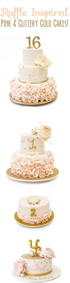 Gold and glittery ruffly goodness in cake form! See more ruffle inspired cakes in our 10 top ten ruffle inspired cakes article.