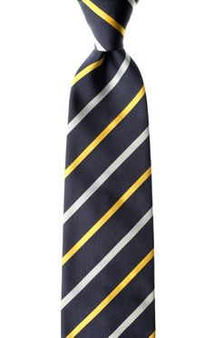 Julius Yellow is part of the Seta di Gioia #striped #necktie collection and showcases solid white and #yellow #stripes #woven into a dark #blue background. Each Seta di Gioia #tie is #handmade in limited quantities using 100% #silk from Como, #Italy and bears our signature white saddle #stitch. Visit Seta di Gioia at www.LuxuryItalianNeckties.com. #MensFashion #MensStyle #ties #neckties #Menswear