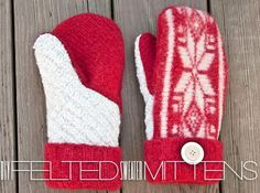DIY Tutorial: Mittens / DIY Felted Sweater Mittens (with printable pattern!) - Bead&Cord