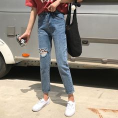 Buy Dute Ripped Straight Cut Jeans | YesStyle Straight Cut Jeans, Mom Jeans, Denim, Pants, How To Wear, Stuff To Buy, Clothes, Fashion, Trouser Pants