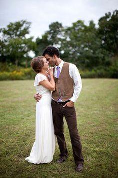 From groom...dark brown pants, lighter velvet brown vest, but with green or brown tie