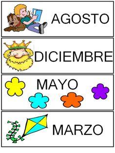 MESES 3 AÑOS 3 Days And Months, Learning Spanish, Anchor Charts, Kindergarten, Preschool, Teacher, Activities, K2, Scrapbooking