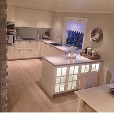 ❤️ New Kitchen, Kitchen Interior, Kitchen Island, New Homes, Pastel, Shabby, Ikea, Cabinet, Lighting
