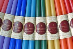 All natural candles in a rainbow of colours. Safe for your home and family. Natural Candles, Candels, Candle Companies, Beeswax Candles, Data Sheets, Candlesticks, Tea Lights, Lettering, Pure Products