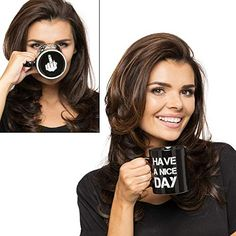 Gadget Masters Have a Nice Day - Mittelfinger lustige Tasse für Milch Saft Kaffee oder Tee Keramik Tasse schwarz Gadg... Pause Café, Four Micro Onde, Masters, Good Day, Nice, Gadgets, Mugs, Hilarious, Funny