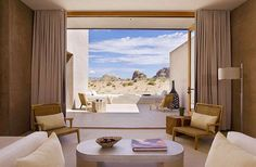Amangiri, Utah, North America - Revel in high desert splendor at  Amangiri an ultra-luxururious retreat on a 600-acre plot where you'll see soaring red-rock cliffs and jagged mesas. All 34 suites feature an expansive private terrace equipped with an outdoor fireplace.