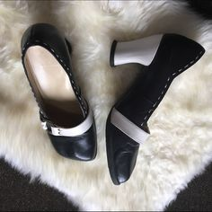 """John Fluevog Valentines Day Heart Heels """"To love or to hate the choice is yours"""" lines the bottom of these black and white heels... Leave heart marks in the snow, and live it up in these gently worn leather upper rubber bottom sturdy heels. To trades, no Pp. Offers welcome. John Fluevog Shoes Heels"""