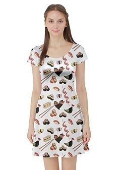 CowCow Womens Colorful Pattern With Japanese Food Short Sleeve Dress White  S * ** AMAZON BEST BUY **