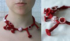"""red necklace with mushroom shapes by  """"ulaniulani"""" (Lana Bragina )"""