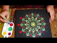 How to paint dot mandalas-#27 Using a Stencil to make a Red, Gold and Green Indian wedding mandala - YouTube