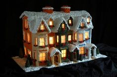 Edible lighted Gingerbread house