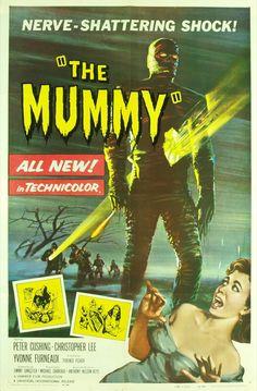 La Momia (The Mummy) (Terror Of The Mummy) (O Vrykolakas Ton Pyramidon) (Muumion Kosto) (Muumio) (Mumiens Hamnd) (Mumia) (La Mummia) (La Malediction Des Pharaons) (Die Rache Der Pharaonen) (Die Mumie) (A Mumia) (Terence Fisher, Reino Unido, Horror Movie Posters, Old Movie Posters, Classic Movie Posters, Classic Horror Movies, Hammer Horror Films, Hammer Films, Horror Vintage, Mummy Movie, The Blues Brothers
